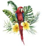 Bouquet tropical floral d'aquarelle avec les fleurs et le perroquet lumineux Feuilles peintes à la main de noix de coco et de ban Photographie stock libre de droits