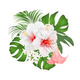 Bouquet with tropical flowers floral arrangement, with beautiful white hibiscus, palm,philodendron and Brugmansia vintage vector. Illustration editable hand royalty free illustration