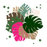 bouquet of tropical leaves multicolored stock illustration