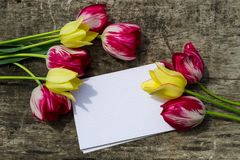 Bouquet of tulip flowers and blank notepad on rustic wooden background Stock Image