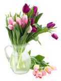 Bouquet of   tulip flowers in vase Stock Photos