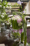 Bouquet of  tulip and hyacinth in vase of glass. Stock Image