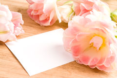 Bouquet of tulips with blank card. For your text Royalty Free Stock Photography