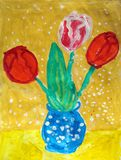 Bouquet of tulips in a blue vase - gouache painting stock photo