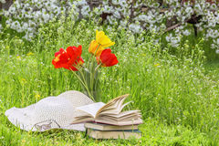 Bouquet of tulips,  books, a hat on the grass Stock Photography