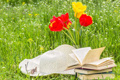 Bouquet of tulips,  books, a hat on the lawn Royalty Free Stock Photo