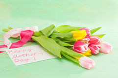 Bouquet of tulips and card with greetings for mother Stock Images