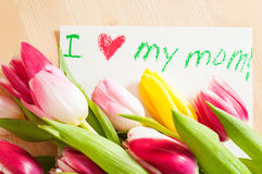 Bouquet of tulips and card with greetings for mother Stock Image