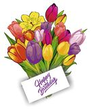 Bouquet of tulips with a card stock illustration