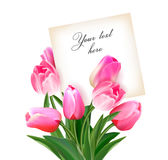 Bouquet of tulips with a card inside. Space for text. Holiday background with sheet of paper and flowers. Vector Royalty Free Stock Photography