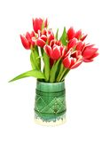 bouquet of tulips in ceramic vase isolated Royalty Free Stock Photos