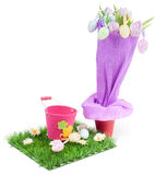 Bouquet from tulips and easter eggs Royalty Free Stock Photo