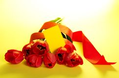 The bouquet of tulips and an empty card Royalty Free Stock Image