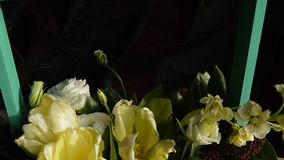 A bouquet of tulips, eustoma in a green wooden box, the zoom frame.  stock video