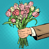 Bouquet tulips flowers gift Stock Photo