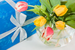 Bouquet of tulips and gift Stock Image