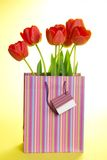 Bouquet of tulips in a gift package Stock Image