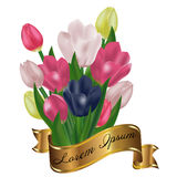 Bouquet of tulips with a gold ribbon. Festive spring flowers. Ho. Liday symbol. Vector illustration Stock Photos