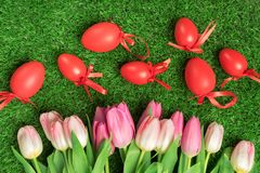 Bouquet of tulips on the grass. Bouquet of tulips on the green grass Stock Photography
