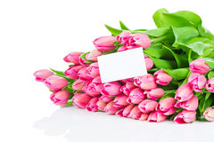 Bouquet of tulips and a greeting card Stock Photos