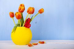 Bouquet of tulips and heart Royalty Free Stock Photos