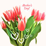 A bouquet of tulips with hearts. Mother`s day vector card. Spring Background. A bouquet of tulips with hearts. Vector card. Background Royalty Free Stock Image