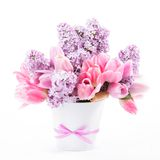 Bouquet from tulips and lilac Stock Photo
