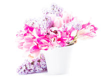 Bouquet from tulips and lilac Royalty Free Stock Images