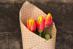 Bouquet of tulips. In paper with polka dots on the wooden board Stock Photos