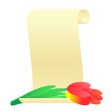 Bouquet of tulips and paper scroll. Stock Photo