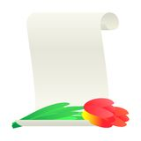 Bouquet of tulips and paper scroll. Stock Image
