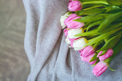 Bouquet of tulips with pink ribbon on gray blanket. Bouquet of pink and white tulips with pink ribbon on gray blanket stock images