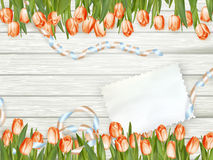 Bouquet of tulips on rustic wooden board. EPS 10 Stock Photos