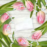 Bouquet of tulips on rustic wooden board. EPS 10 Royalty Free Stock Photography