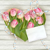 Bouquet of tulips on rustic wooden board. EPS 10 Royalty Free Stock Image