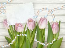 Bouquet of tulips on rustic wooden board. EPS 10 Royalty Free Stock Images