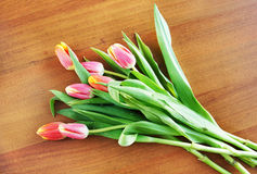 Bouquet of tulips on a table Stock Images
