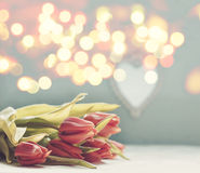 Bouquet of tulips on the table and copy space Stock Images
