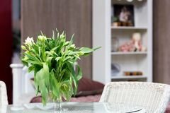 Bouquet of tulips on the table Royalty Free Stock Images