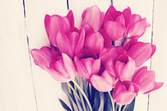 Bouquet of  tulips, tinted. Big beautiful bouquet of pink tulips, tinted Stock Photos