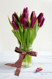 Bouquet of tulips in a vase Stock Image