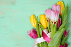 Bouquet of tulips  on the wooden background Stock Photography