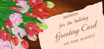 Bouquet tulips on a wooden background, with free space for text. Greeting card with flowers. Vector. Illustration Royalty Free Stock Photo