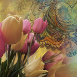 Bouquet of tulips on worn golden background Stock Photo