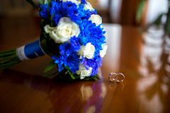 Bouquet and two Rings Stock Image