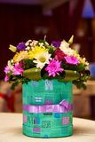 A bouquet of various colors in a beautiful box royalty free stock images