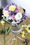 Bouquet of various flowers. In a vase Royalty Free Stock Photos
