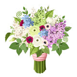 Bouquet of various flowers. Vector eps-10. Royalty Free Stock Photography