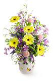 Bouquet in vase. Colorful flower bouquet in vase isolated on white Stock Photography