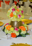 Bouquet of vase flowers color. Beautifull vase with bouquet flowers on the table at day of wedding lady Royalty Free Stock Photography